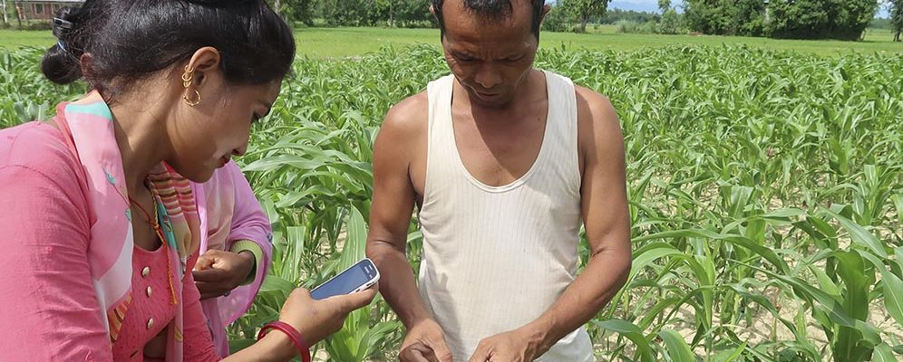 Tech savvy community volunteer teaches a farmer to diagnose pests using a smartphone application in Nepal.